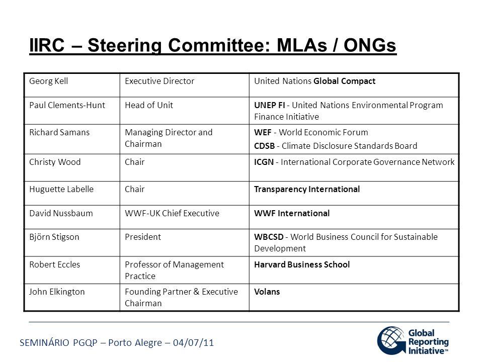 IIRC – Steering Committee: MLAs / ONGs