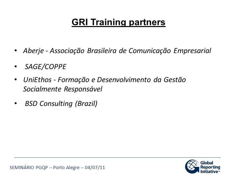 GRI Training partners Aberje - Associação Brasileira de Comunicação Empresarial. SAGE/COPPE.