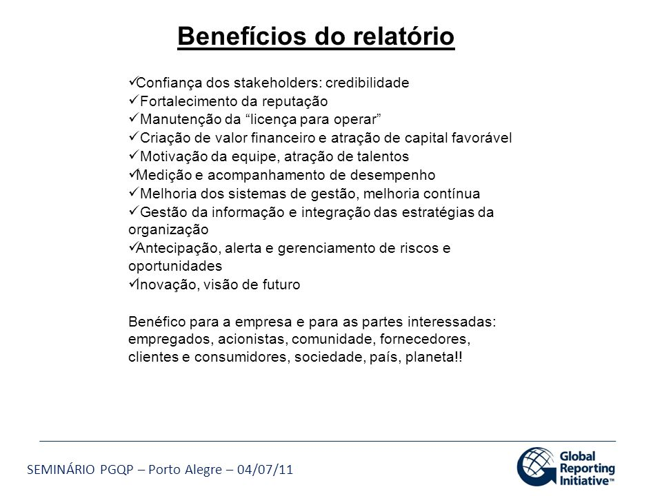 Benefícios do relatório