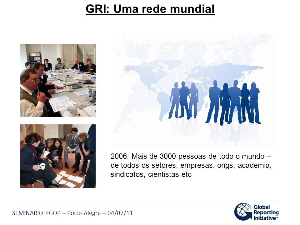 GRI: Uma rede mundial 2006: Mais de 3000 pessoas de todo o mundo – de todos os setores: empresas, ongs, academia,