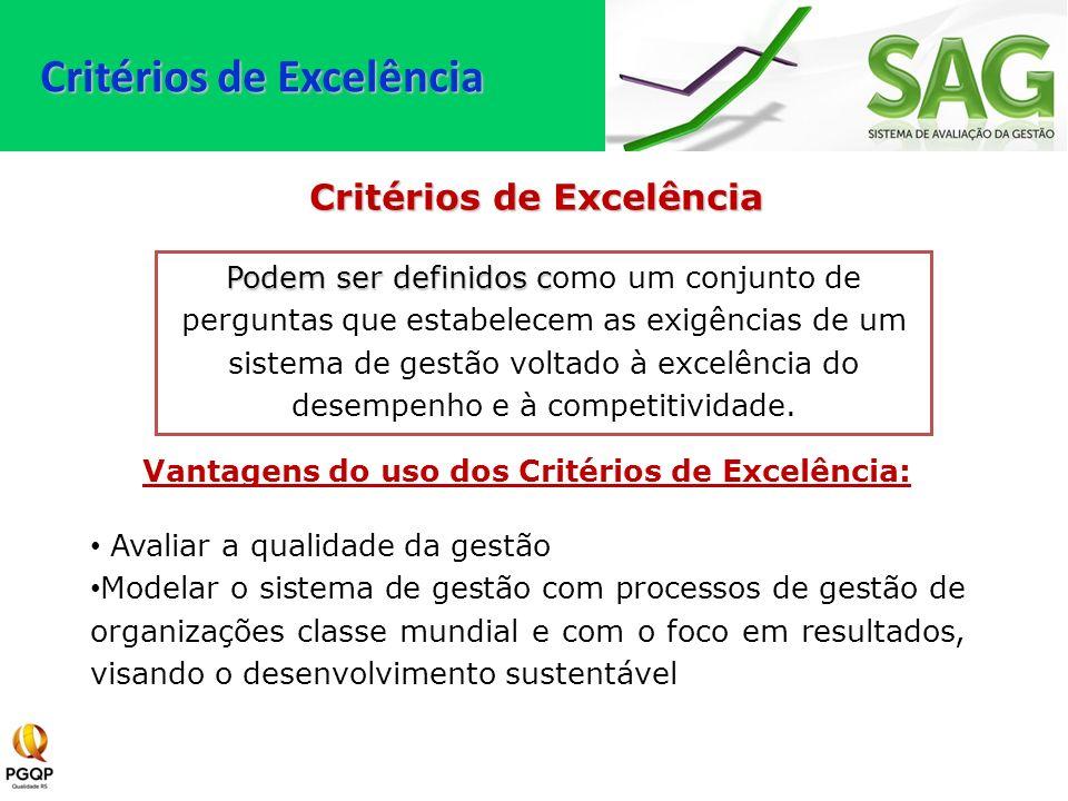 Vantagens do uso dos Critérios de Excelência: