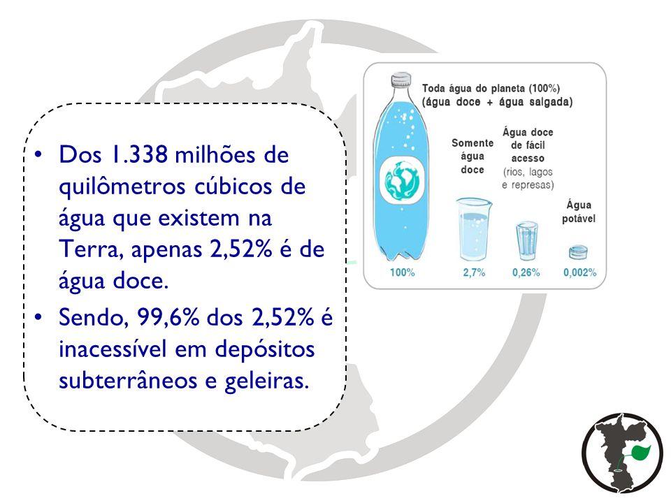 Dos 1.338 milhões de quilômetros cúbicos de água que existem na Terra, apenas 2,52% é de água doce.