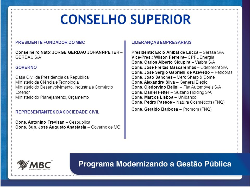 CONSELHO SUPERIOR PRESIDENTE FUNDADOR DO MBC