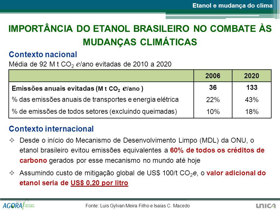IMPORTÂNCIA DO ETANOL BRASILEIRO NO COMBATE ÀS MUDANÇAS CLIMÁTICAS