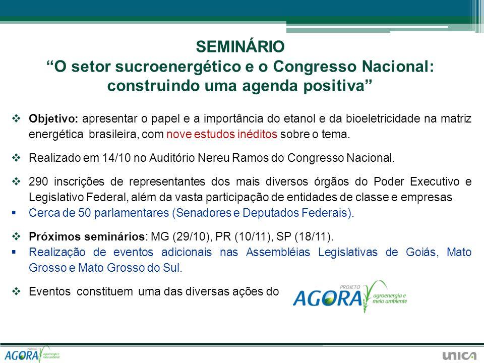 SEMINÁRIO O setor sucroenergético e o Congresso Nacional: construindo uma agenda positiva
