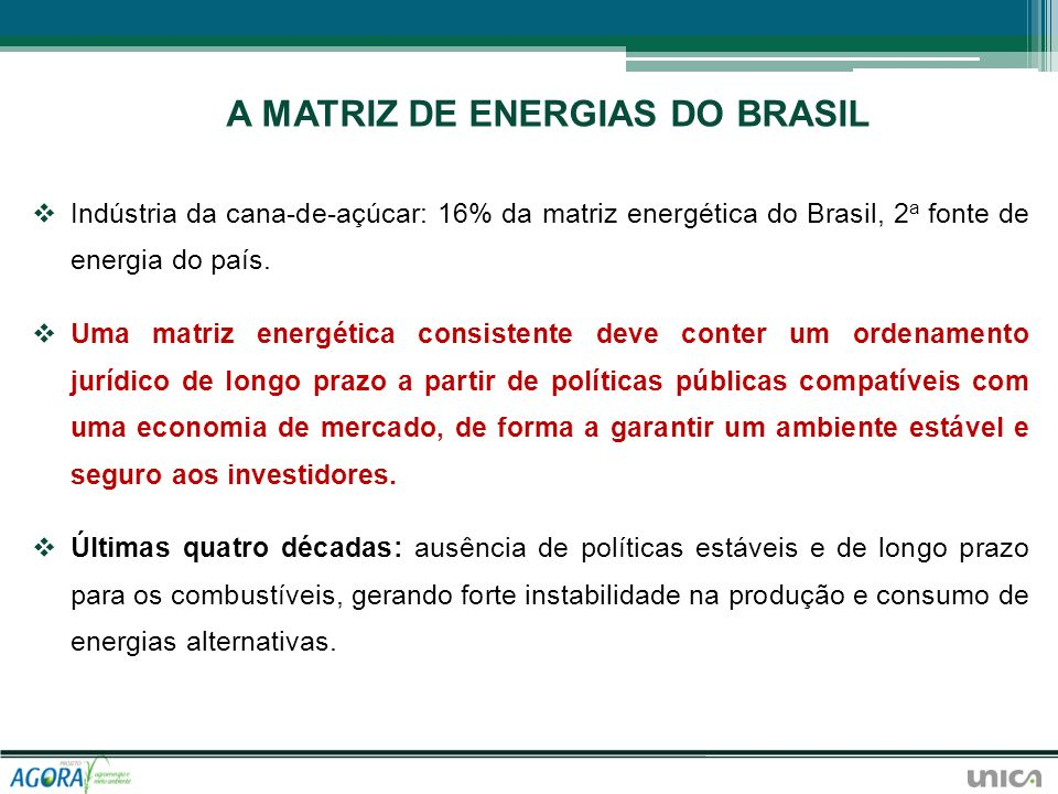 A MATRIZ DE ENERGIAS DO BRASIL