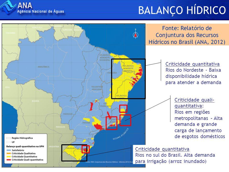 BALANÇO HÍDRICO Fonte: Relatório de Conjuntura dos Recursos Hídricos no Brasil (ANA, 2012)