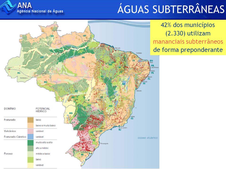 ÁGUAS SUBTERRÂNEAS 42% dos municípios (2.330) utilizam mananciais subterrâneos de forma preponderante.
