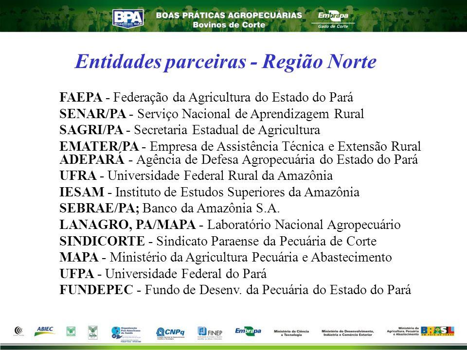 Entidades parceiras - Região Norte