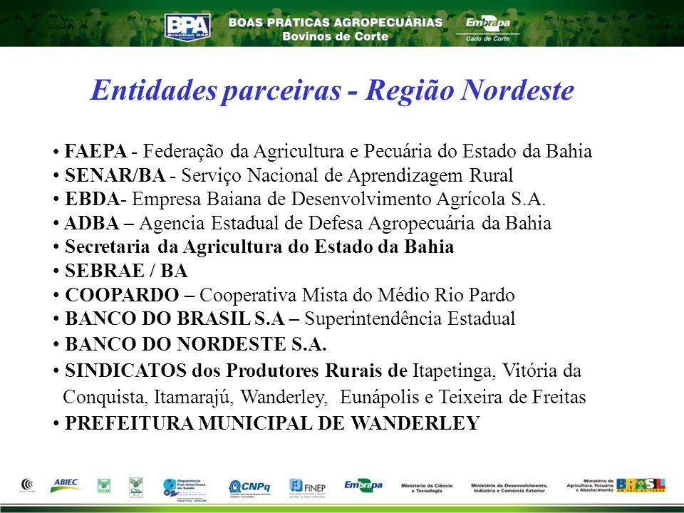Entidades parceiras - Região Nordeste