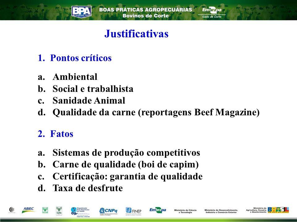 Justificativas 1. Pontos críticos. Ambiental. Social e trabalhista. Sanidade Animal. Qualidade da carne (reportagens Beef Magazine)