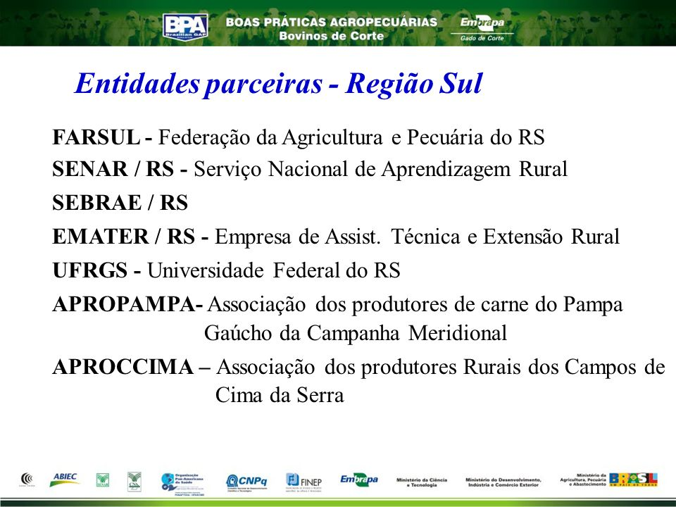 Entidades parceiras - Região Sul