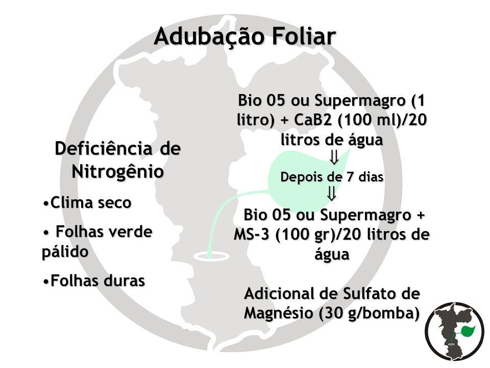 Adubação Foliar Deficiência de Nitrogênio