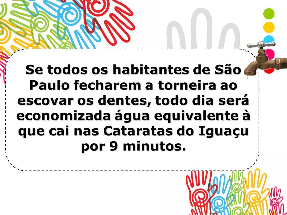 Se todos os habitantes de São Paulo fecharem a torneira ao escovar os dentes, todo dia será economizada água equivalente à que cai nas Cataratas do Iguaçu por 9 minutos.