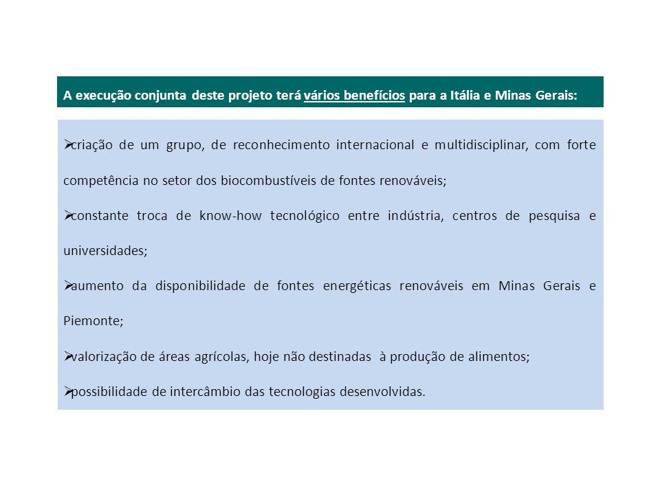 A execução conjunta deste projeto terá vários benefícios para a Itália e Minas Gerais: