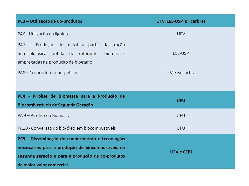 UFV, EEL-USP, Bricarbras