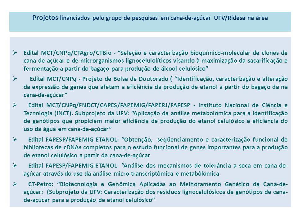 Projetos financiados pelo grupo de pesquisas em cana-de-açúcar UFV/Ridesa na área