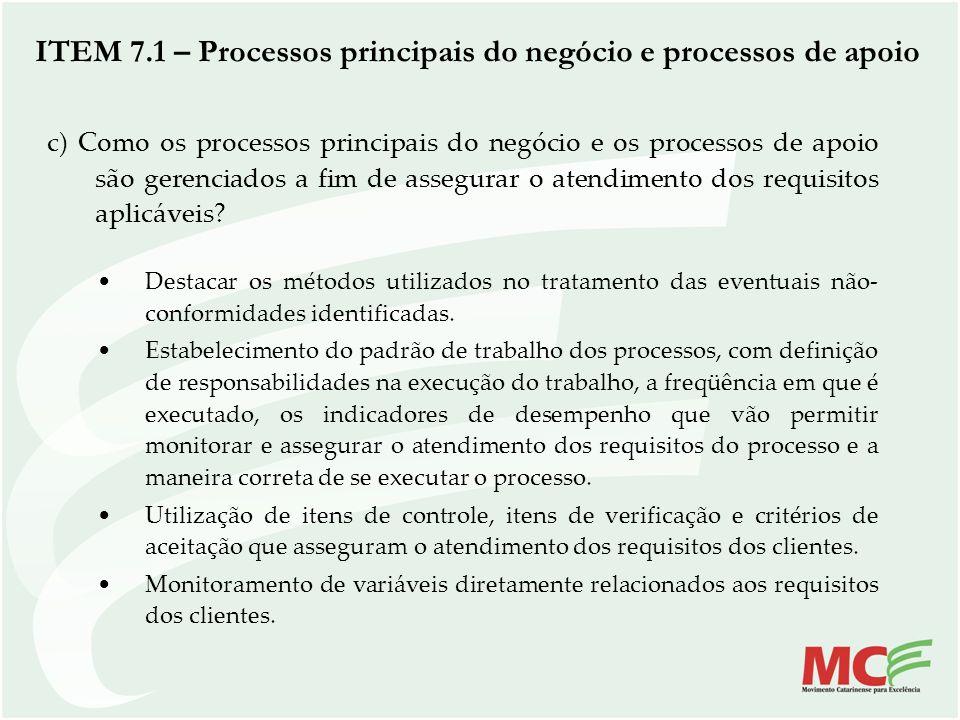 ITEM 7.1 – Processos principais do negócio e processos de apoio