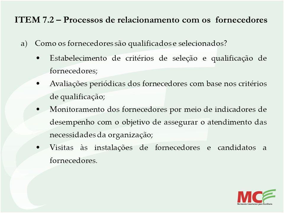 ITEM 7.2 – Processos de relacionamento com os fornecedores