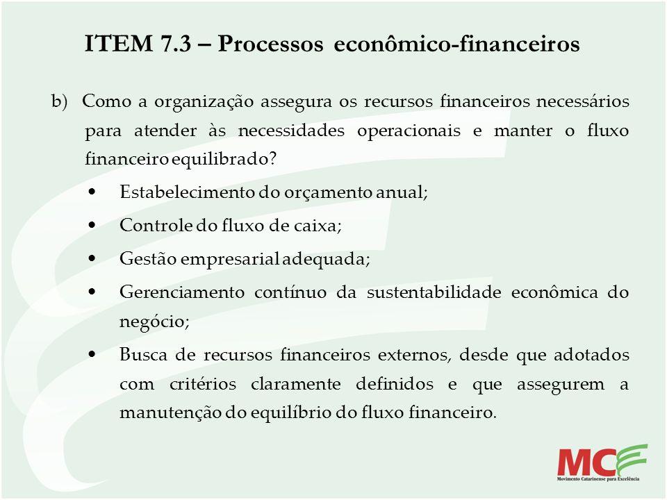 ITEM 7.3 – Processos econômico-financeiros