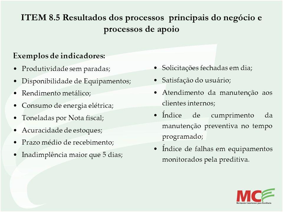 ITEM 8.5 Resultados dos processos principais do negócio e processos de apoio