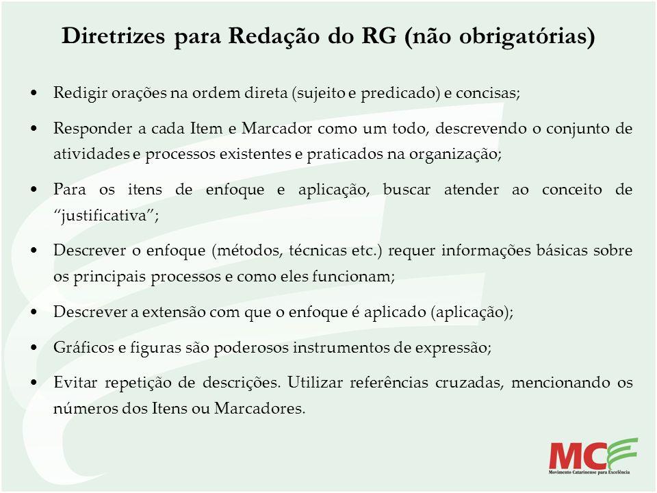Diretrizes para Redação do RG (não obrigatórias)
