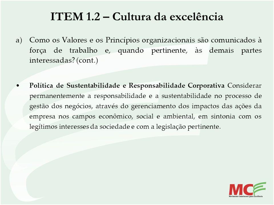 ITEM 1.2 – Cultura da excelência