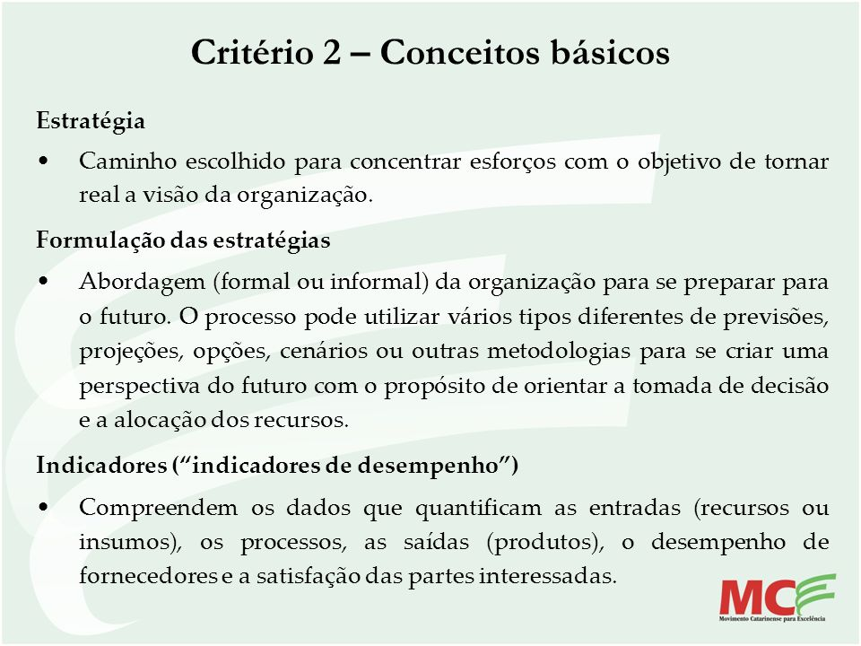 Critério 2 – Conceitos básicos
