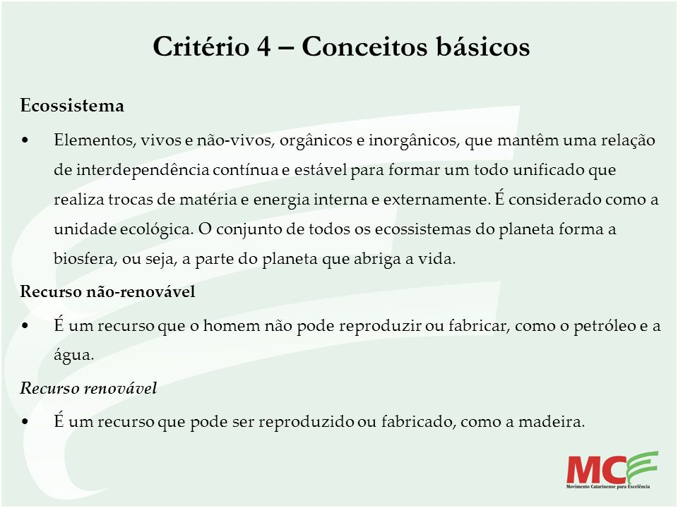 Critério 4 – Conceitos básicos