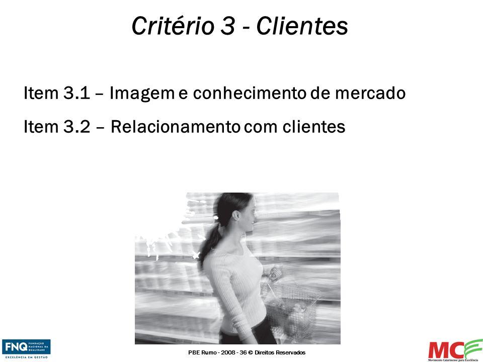 Critério 3 - Clientes Item 3.1 – Imagem e conhecimento de mercado