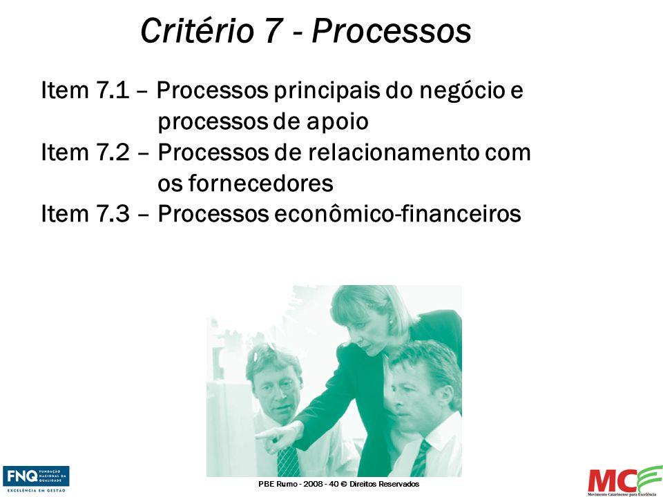 Critério 7 - Processos Item 7.1 – Processos principais do negócio e