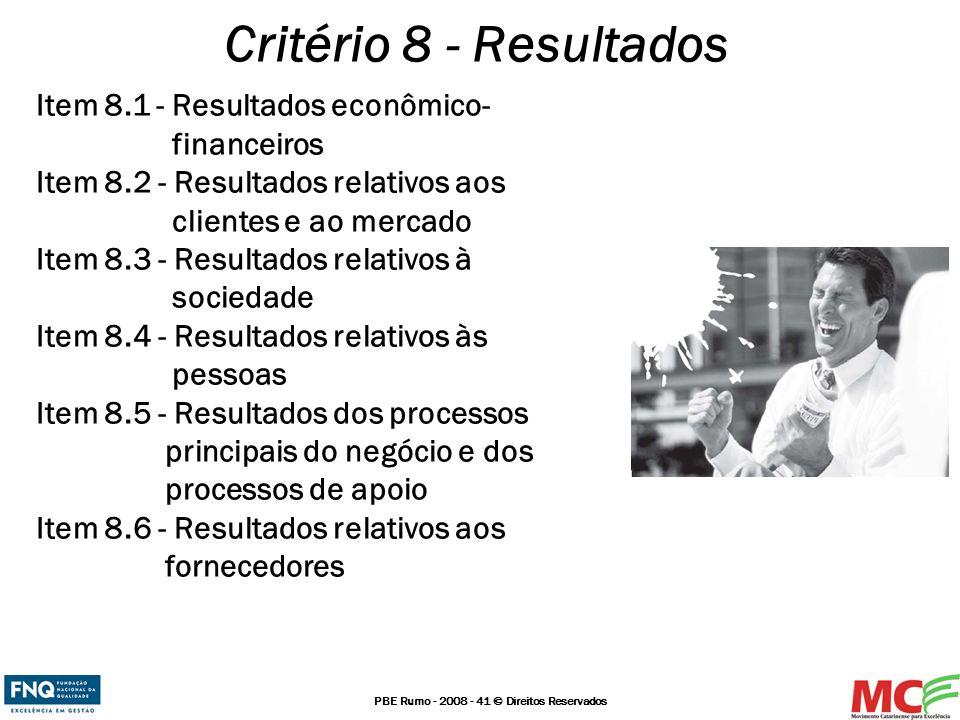 Critério 8 - Resultados Item 8.1 - Resultados econômico- financeiros