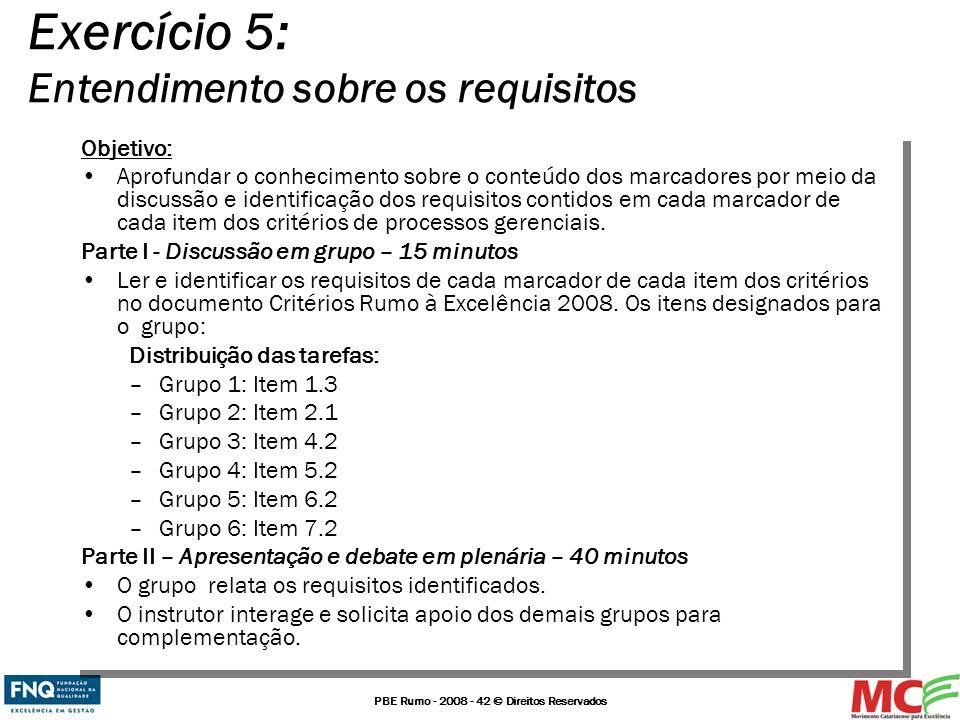 Exercício 5: Entendimento sobre os requisitos