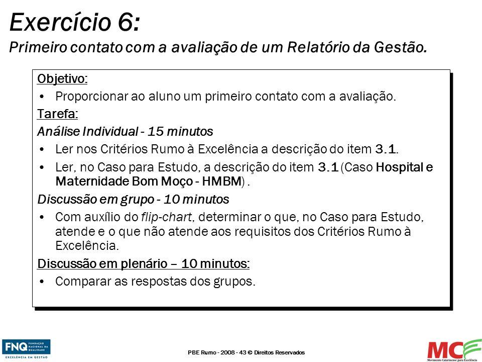 Exercício 6: Primeiro contato com a avaliação de um Relatório da Gestão.