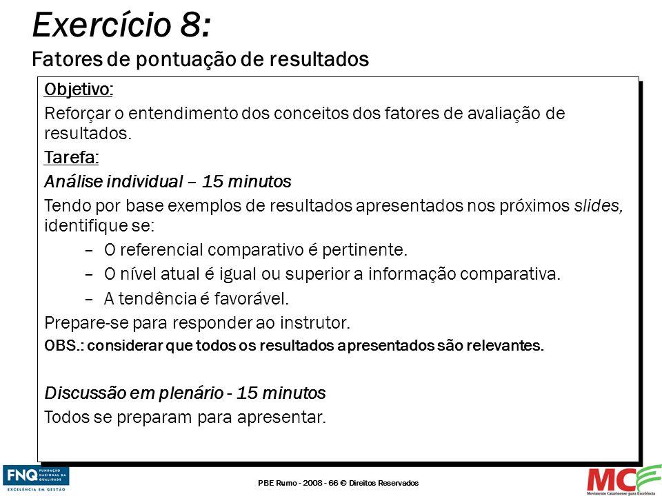 Exercício 8: Fatores de pontuação de resultados