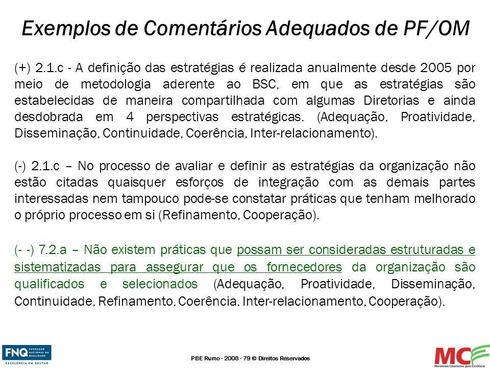 Exemplos de Comentários Adequados de PF/OM