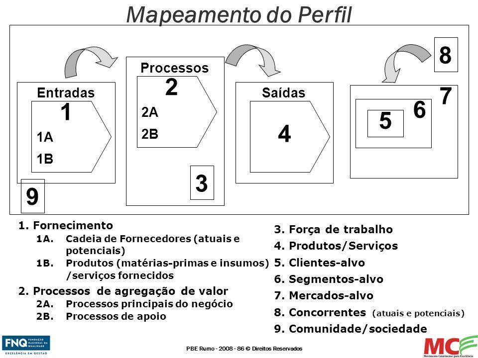Mapeamento do Perfil 8 2 7 6 1 5 4 3 9 Processos 2A 2B Entradas Saídas