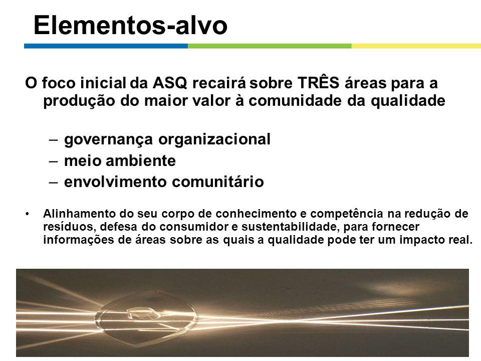 Elementos-alvo O foco inicial da ASQ recairá sobre TRÊS áreas para a produção do maior valor à comunidade da qualidade.