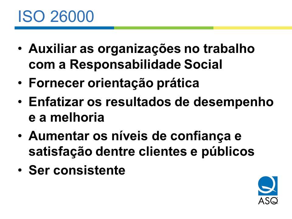 ISO 26000 Auxiliar as organizações no trabalho com a Responsabilidade Social. Fornecer orientação prática.