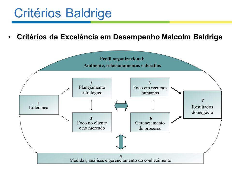 Critérios Baldrige Critérios de Excelência em Desempenho Malcolm Baldrige