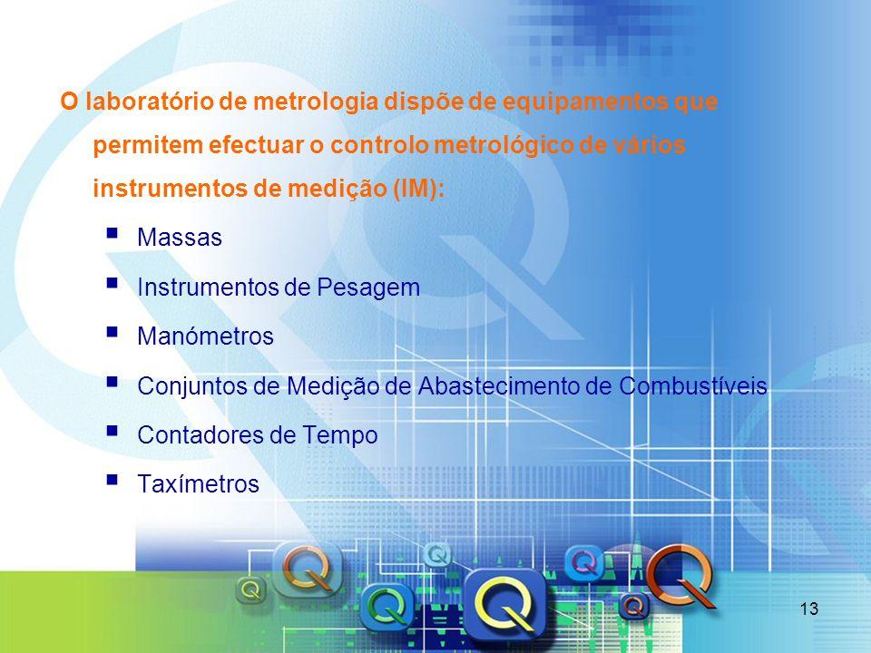 O laboratório de metrologia dispõe de equipamentos que permitem efectuar o controlo metrológico de vários instrumentos de medição (IM):