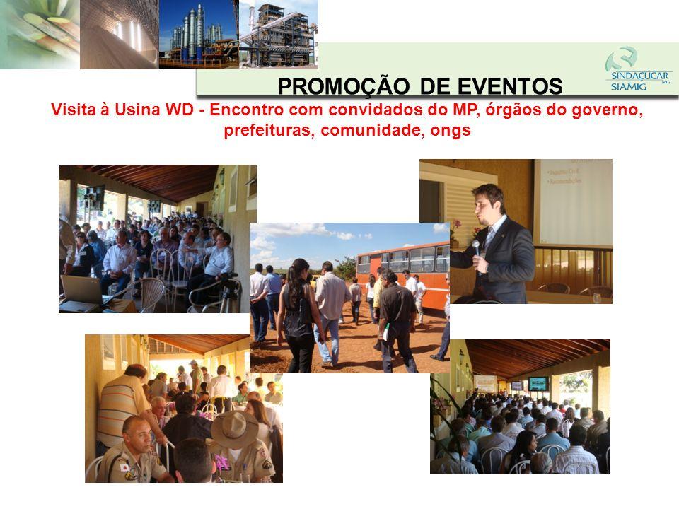 PROMOÇÃO DE EVENTOS Visita à Usina WD - Encontro com convidados do MP, órgãos do governo, prefeituras, comunidade, ongs.