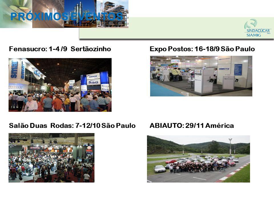 PRÓXIMOS EVENTOS Fenasucro: 1-4 /9 Sertãozinho Expo Postos: 16-18/9 São Paulo.