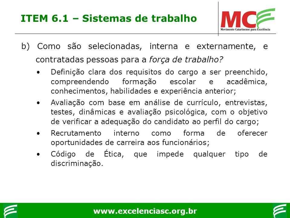 ITEM 6.1 – Sistemas de trabalho