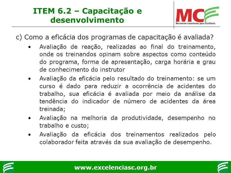 ITEM 6.2 – Capacitação e desenvolvimento