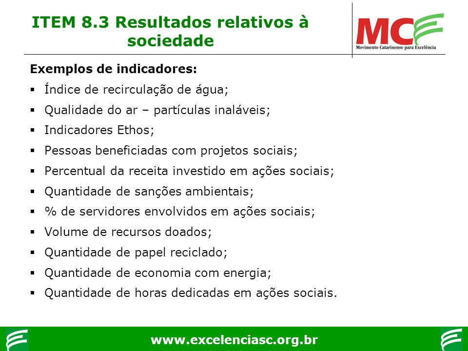 ITEM 8.3 Resultados relativos à sociedade