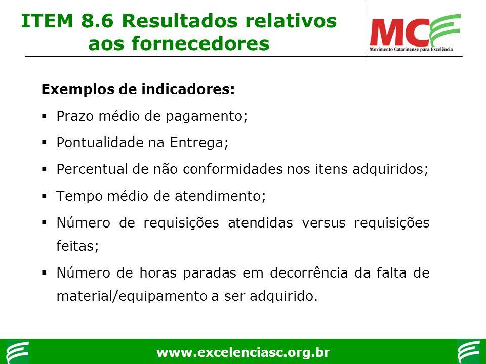 ITEM 8.6 Resultados relativos aos fornecedores