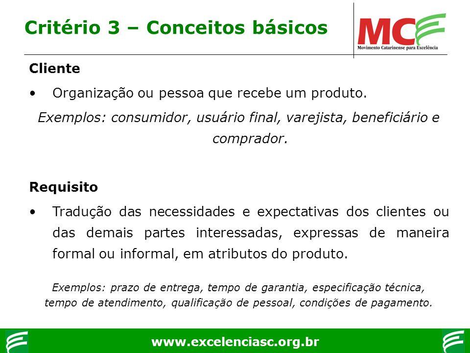 Critério 3 – Conceitos básicos