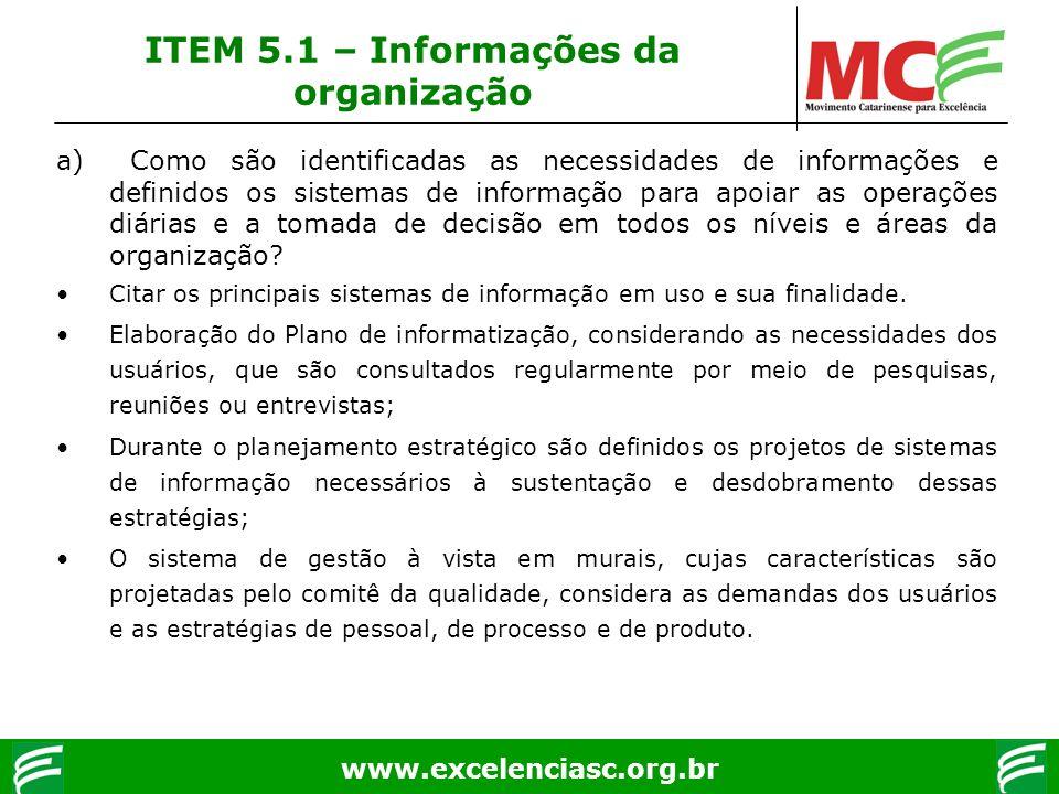 ITEM 5.1 – Informações da organização
