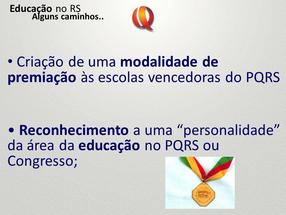 Criação de uma modalidade de premiação às escolas vencedoras do PQRS